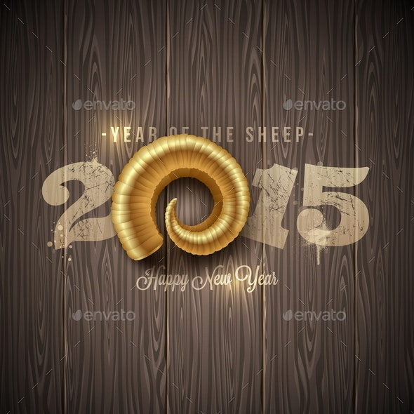 New Years Greeting with Golden Horn of a Sheep - New Year Seasons/Holidays