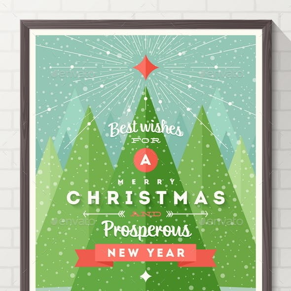 Frame with Flat and Type Design Christmas Poster