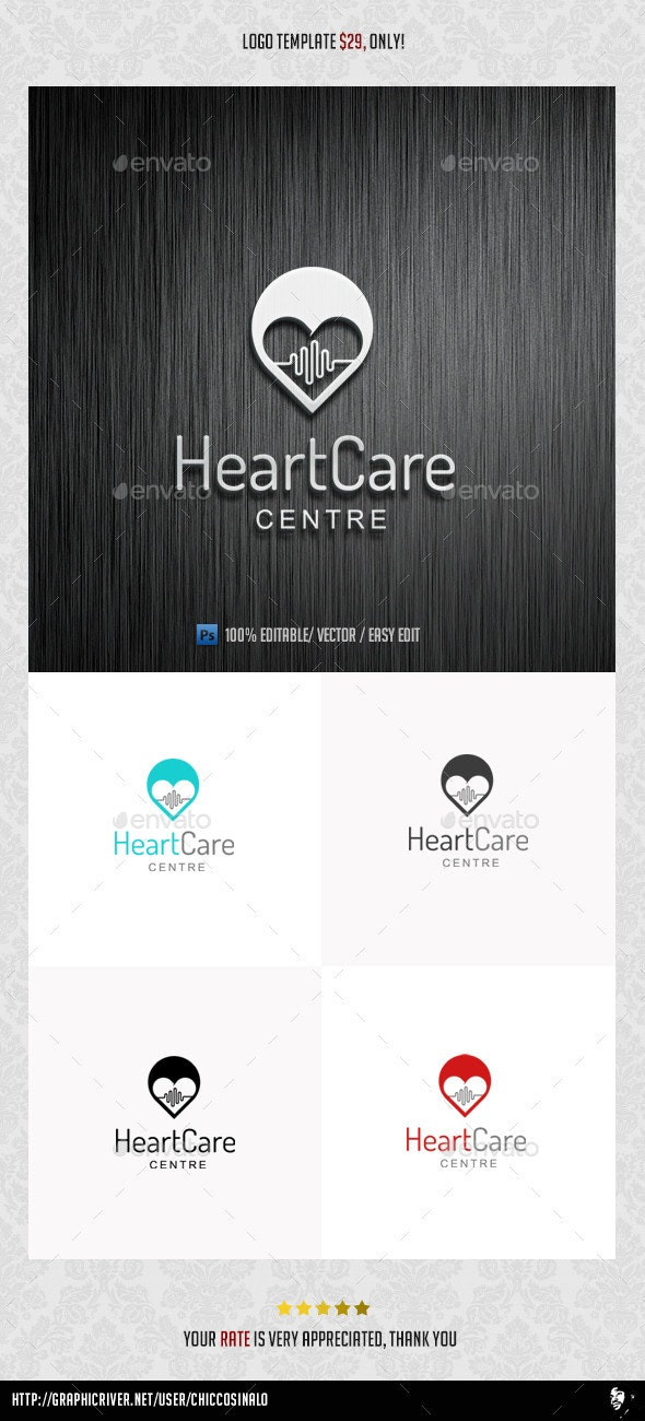 HeartCare Logo Template - Abstract Logo Templates