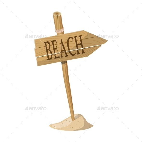 Wooden Signpost Indicating Beach Direction - Travel Conceptual