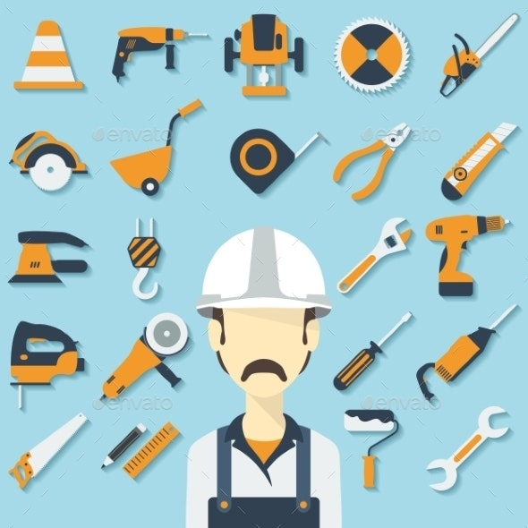 Construction Concept with Flat Icons and Builder.  - Technology Conceptual