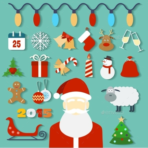 Christmas Concept with Flat Icons and Santa - Christmas Seasons/Holidays