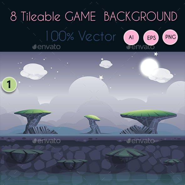 8 Tileable Vector Game Background