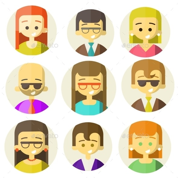 Colorful People Faces Circle Icons Set - People Characters