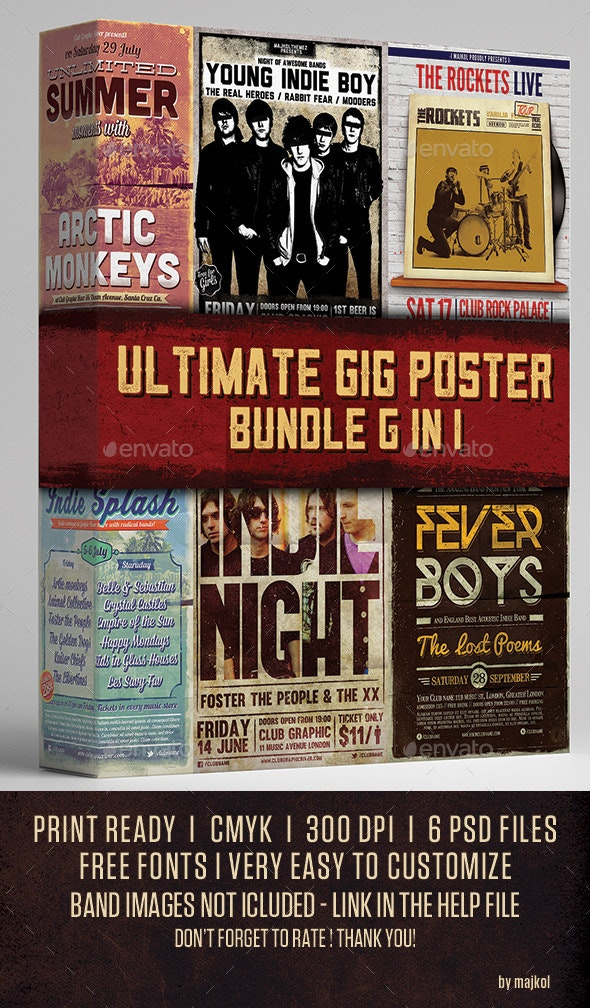 Ultimate Gig Poster Bundle 6 in 1 - Concerts Events