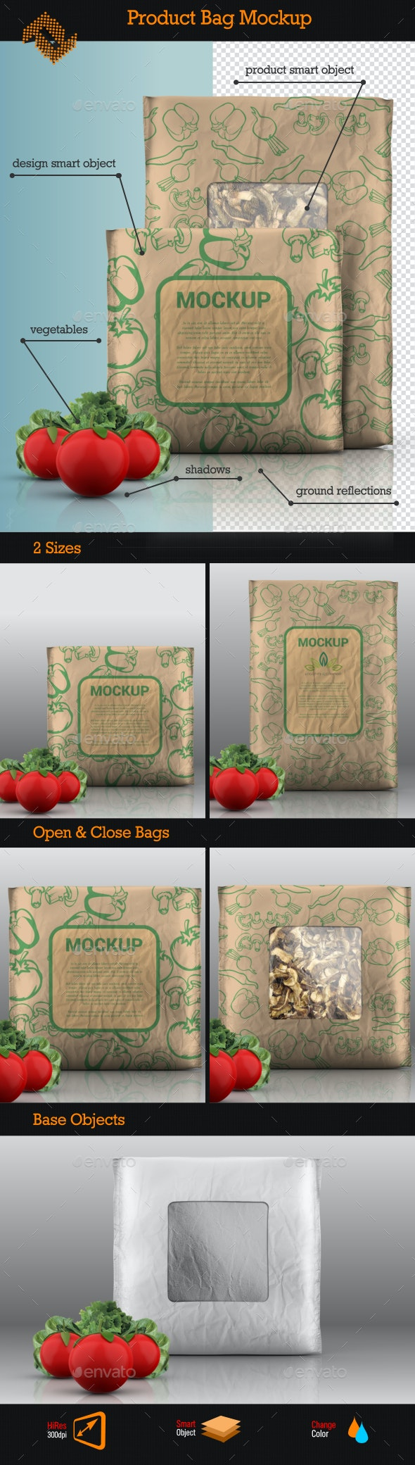 Food Product Bag Mockup - Food and Drink Packaging