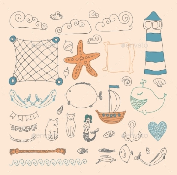 Sea Objects Collection.  - Nature Conceptual