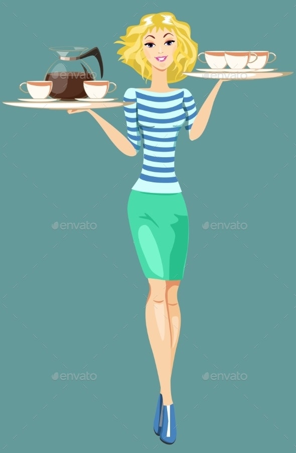 Girl Waitress Carrying a Tray With Cups Of Coffee  - People Characters