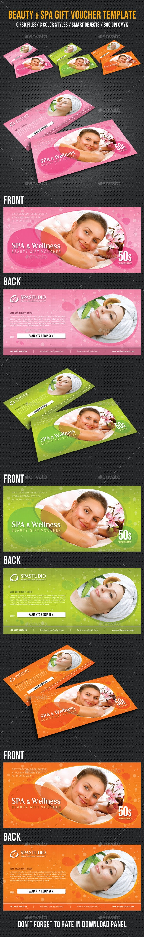 Spa and Wellness Gift Voucher V01 - Cards & Invites Print Templates