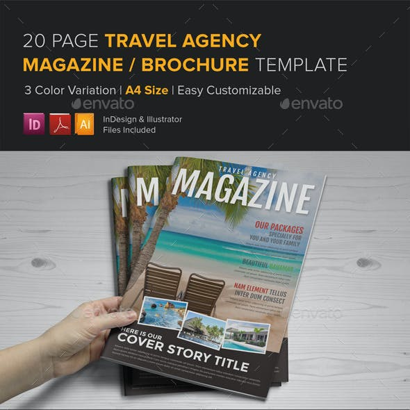 Travel Agency Magazine Brochure Template - InDesig