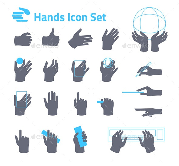 Hands Icon Set for Website or Application - Icons