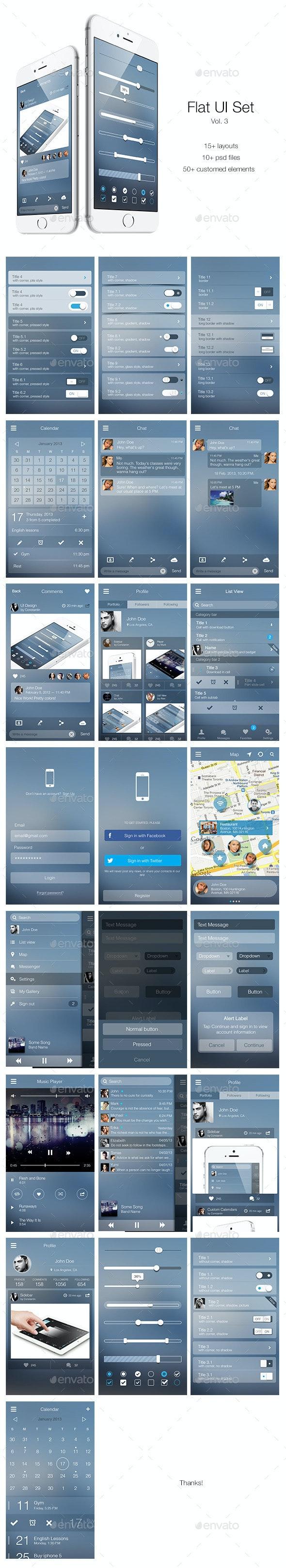 Flat UI Set Vol. 3 - User Interfaces Web Elements