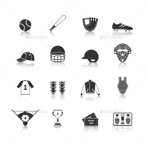 Baseball Icons Set Black