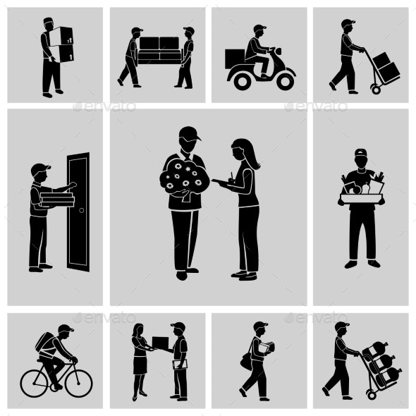 Delivery icons black