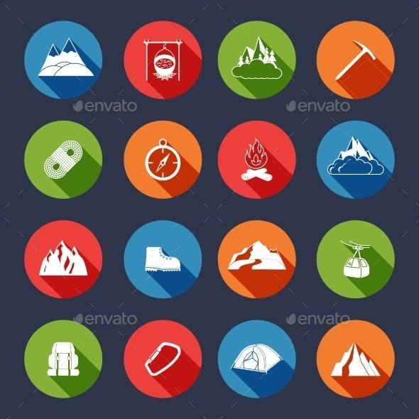 Mountain icons flat - Travel Conceptual