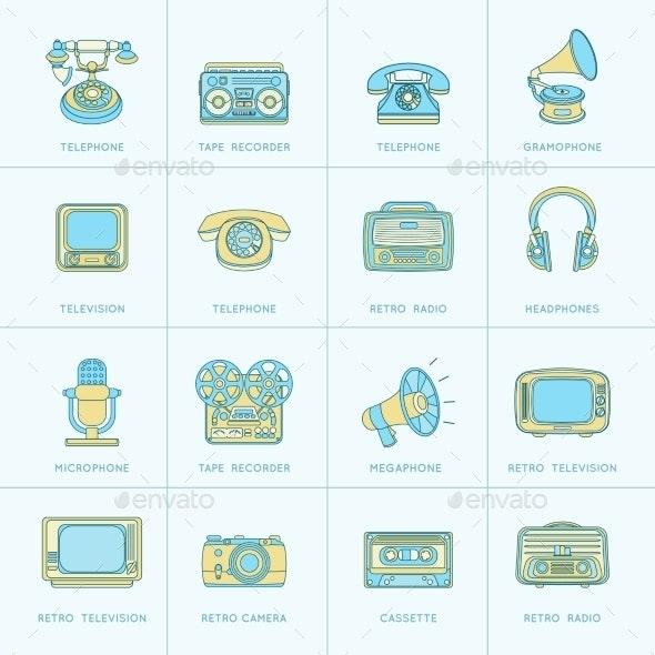 Retro Media Flat Line Icons - Technology Icons