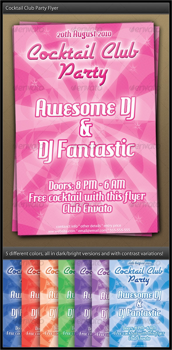 Cocktail Club Party Flyer - Clubs & Parties Events