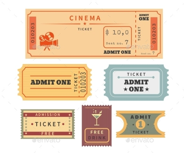 Retro Tickets Set - Decorative Symbols Decorative