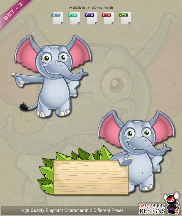 Elephant Character - Set 3 - Animals Characters