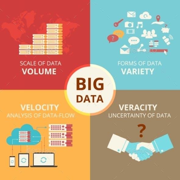 Infographic Flat Concept Illustration of Big Data