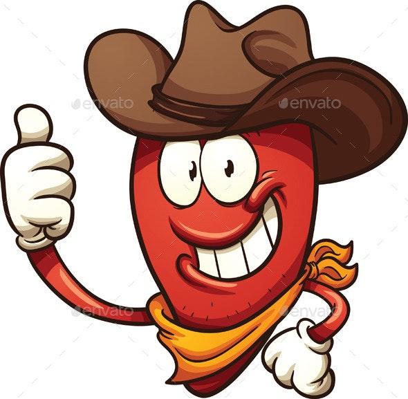 Cowboy Chili Pepper - Characters Vectors