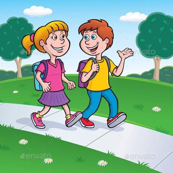 Girl and Boy Walking to School