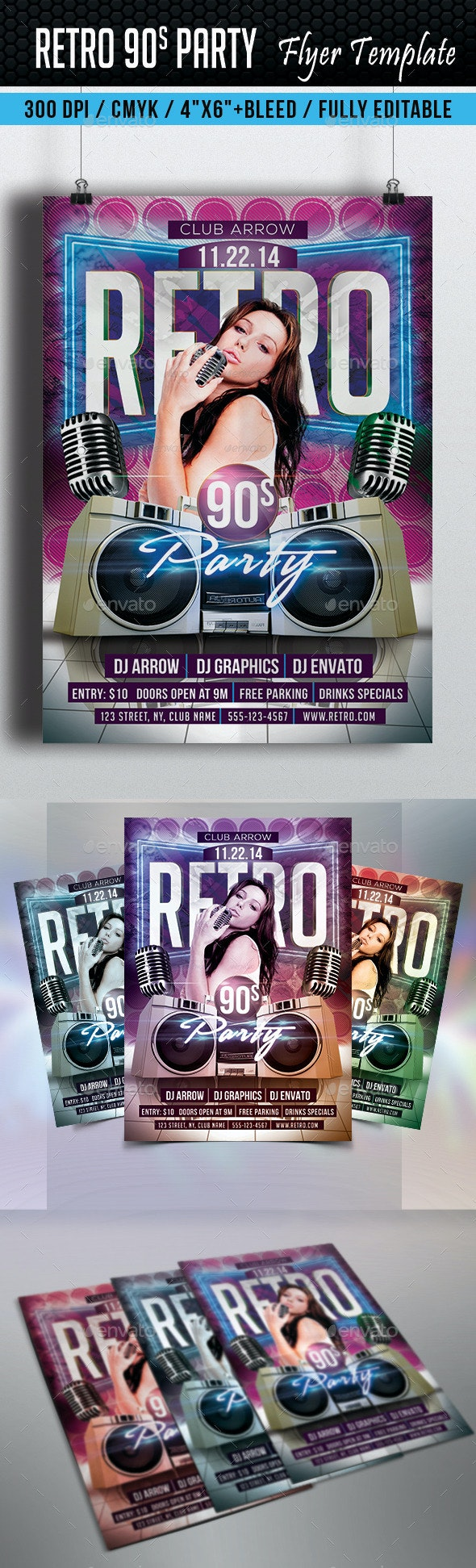 Retro 90s Party Flyer Template - Clubs & Parties Events