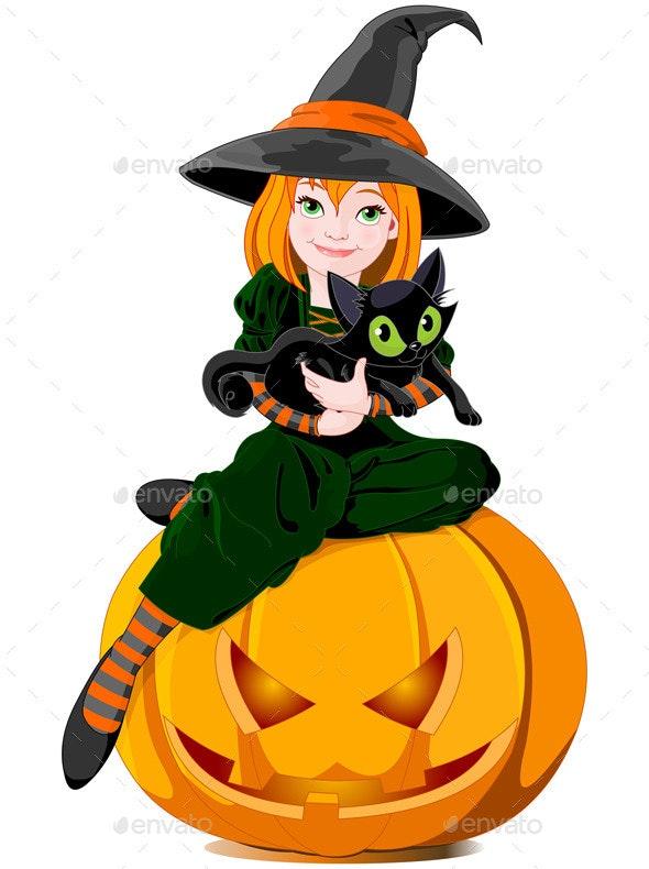 Halloween Witch Holds Cat - Halloween Seasons/Holidays