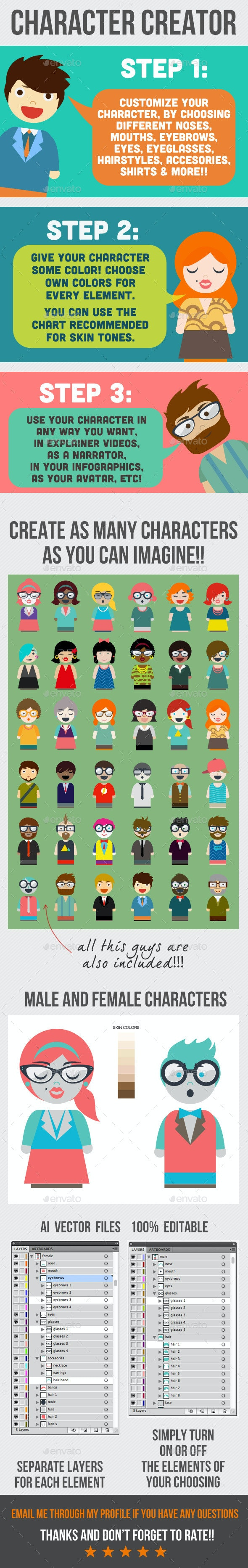 Character Creator - Characters Vectors