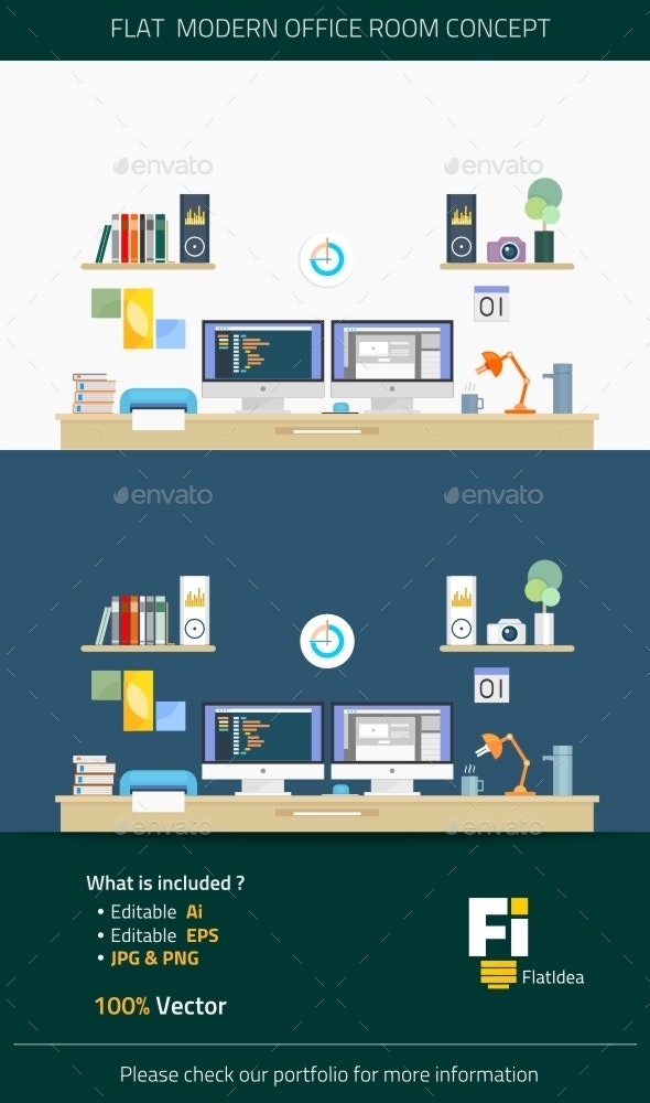 Flat Modern Office Room Concept - Concepts Business
