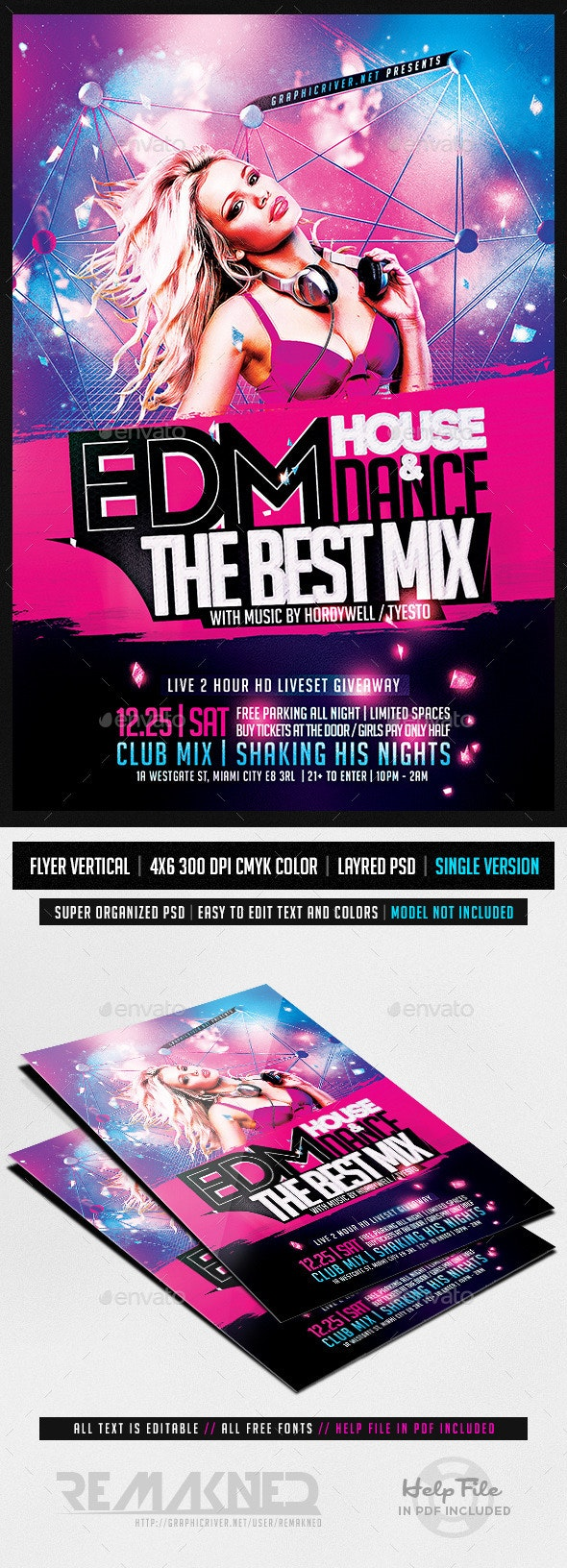 EDM Electro House Music | Flyer Template PSD - Clubs & Parties Events