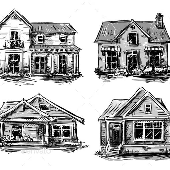 Set of Private Houses, Hand Drawn