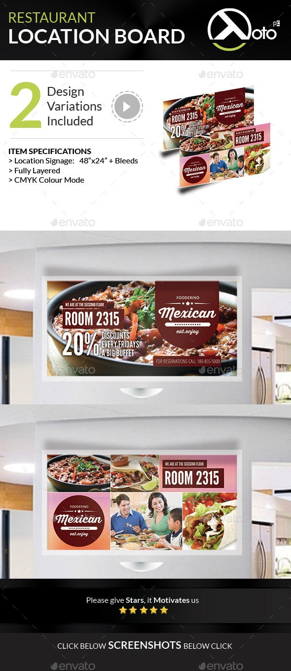 Mexican Restaurant Promotion Location Board - Signage Print Templates