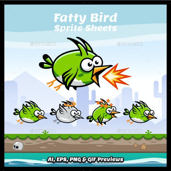 Fatty Bird Game Character Sprite Sheets