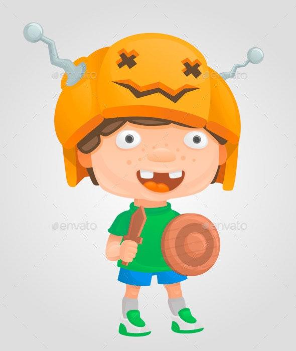 Halloween Boy Pumpkin Warrior - Halloween Seasons/Holidays