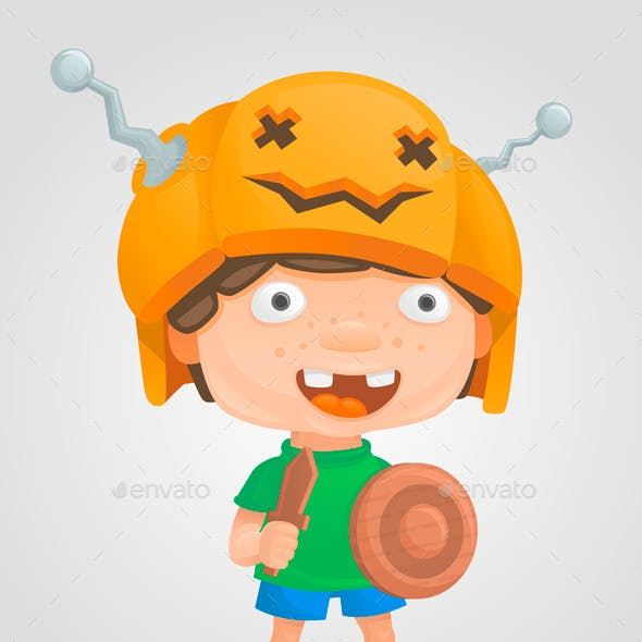 Halloween Boy Pumpkin Warrior