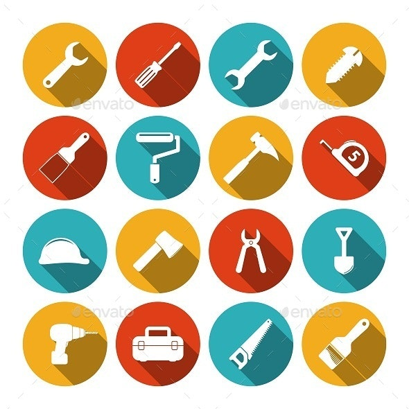 Tools flat icons set - Buildings Objects