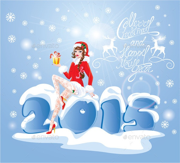 Pin Up Christmas Girl wearing Santa Claus Suit - Christmas Seasons/Holidays