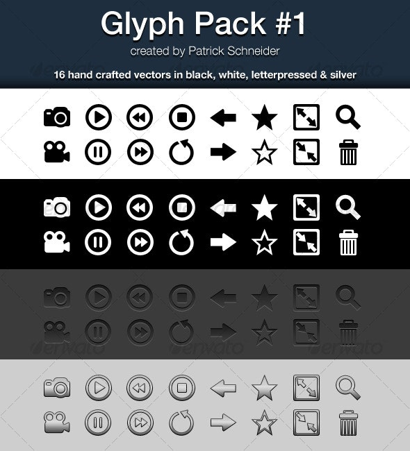 Glyph Pack #1 - Media Icons