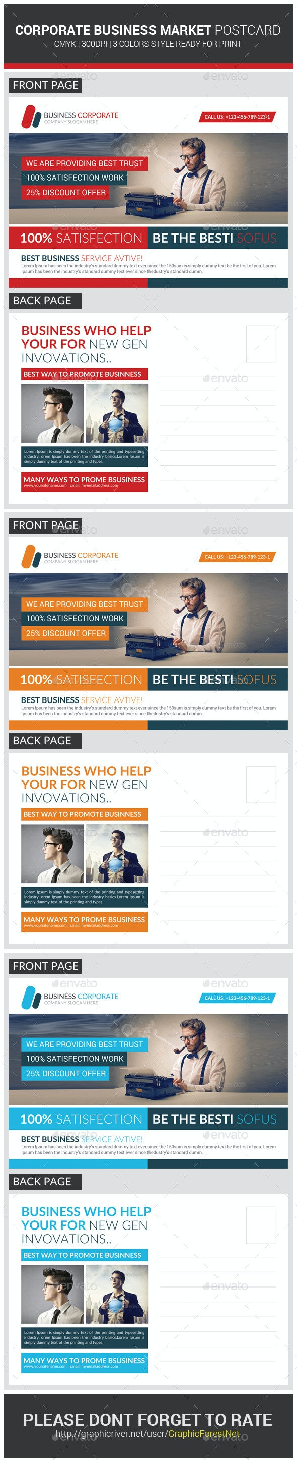 Marketing Corporate Business Postcard Template - Cards & Invites Print Templates