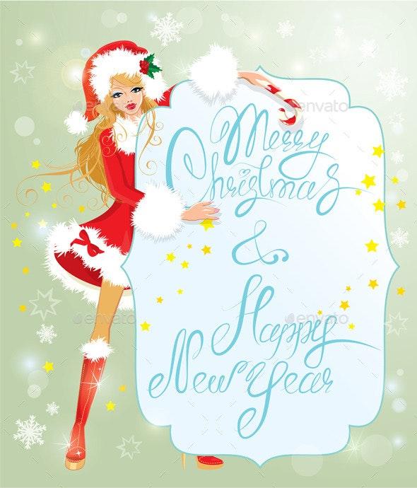 Blond Xmas Girl Wearing Santa Claus Suit  - Christmas Seasons/Holidays