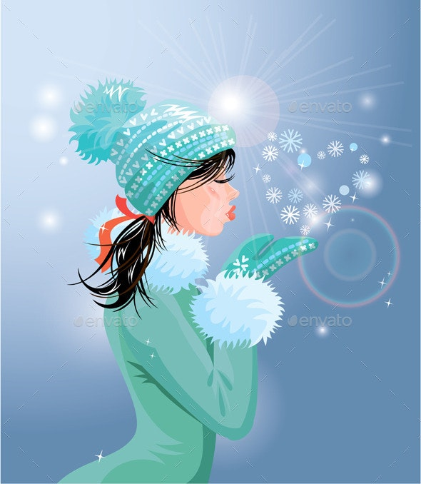 Brunette Girl with Warm Blue Winter Hat  - New Year Seasons/Holidays