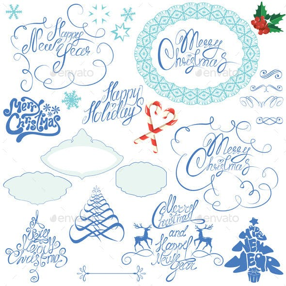 Collection of Christmas and New Year Calligraphy