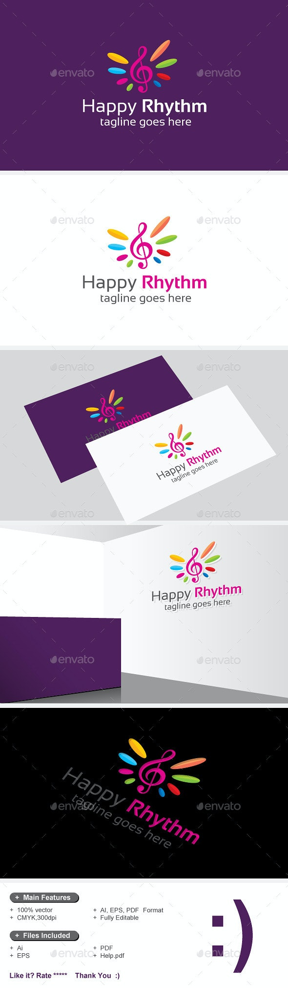 Happy Rhythm & Glad Music - Symbols Logo Templates