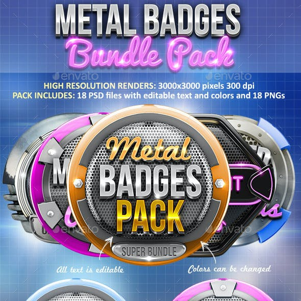 Metal Badges Bundle Pack