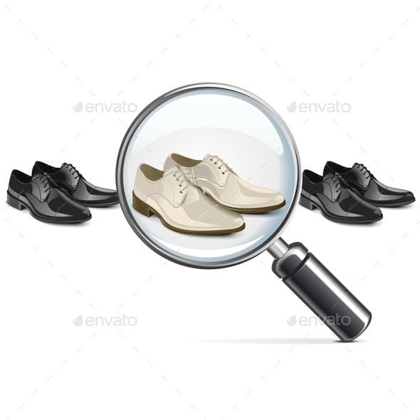 Vector Male Shoes with Lens