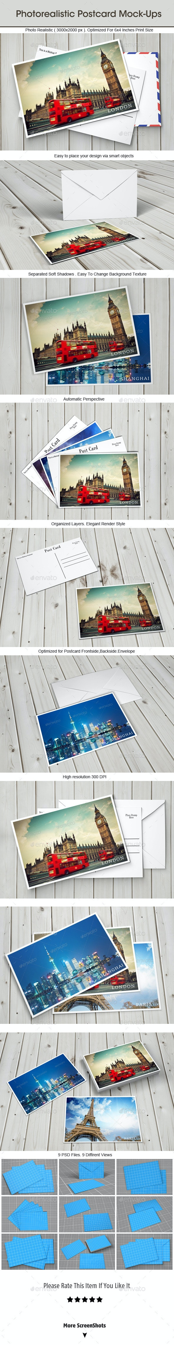 Photorealistic Postcard Mock-ups  - Miscellaneous Print