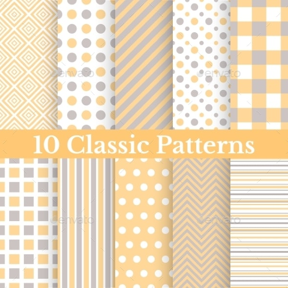 Vintage different vector seamless patterns - Patterns Decorative