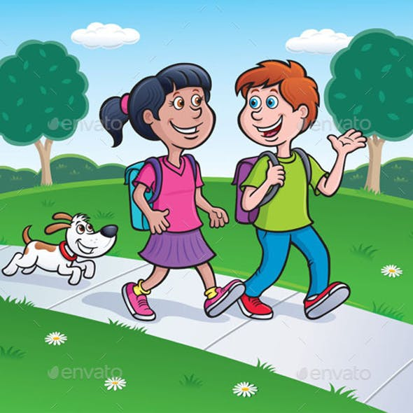 Girl, Boy and Dog Walking Home