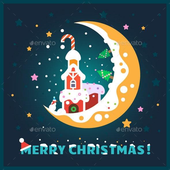 Flat Christmas Postcard - Christmas Seasons/Holidays